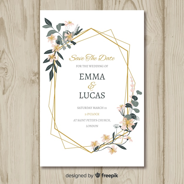 Floral wedding invitation card template Free Vector