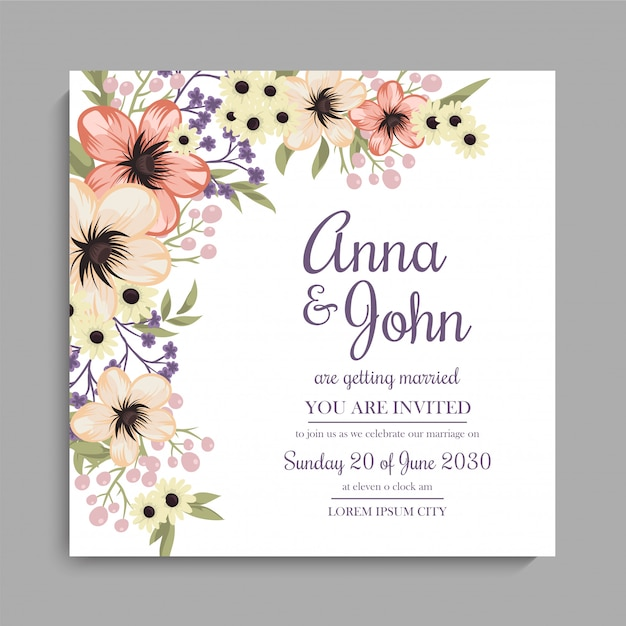 Floral wedding invitation card - yellow floral design Free Vector