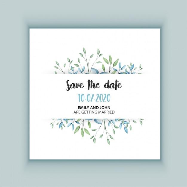 Floral wedding invitation card Premium Vector