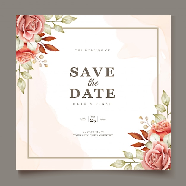 Floral wedding invitation card Free Vector