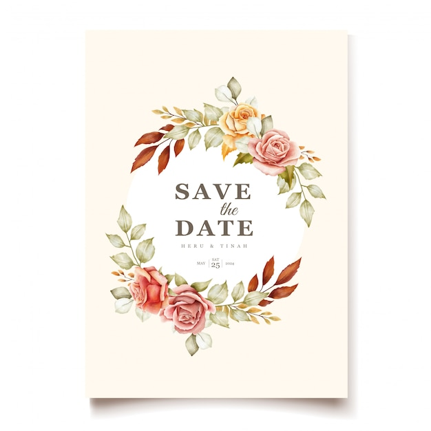 Floral wedding invitation card Premium Vector