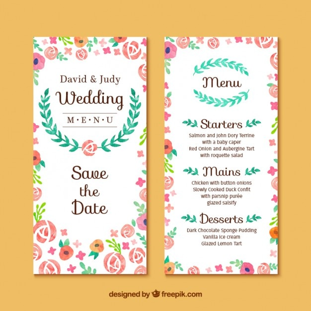 Floral Wedding Invitation Card Vector Free Download