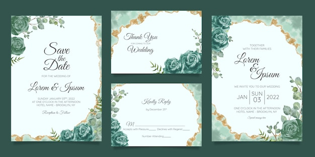 Floral wedding invitation cards template set Premium Vector