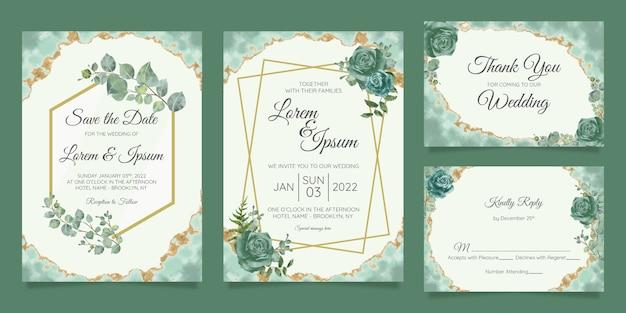 Floral wedding invitation cards template set Premium Vector