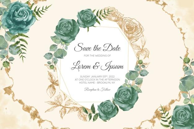 꽃 결혼식 초대 카드 템플릿 세트 프리미엄 벡터