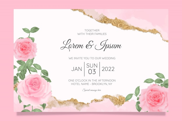 Floral wedding invitation cards template with watercolor floral frame background Premium Vector