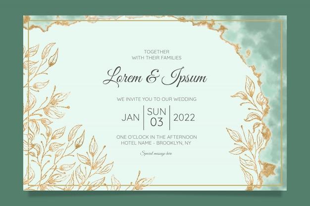 수채화 금박 꽃 결혼식 초대 카드 템플릿 프리미엄 벡터