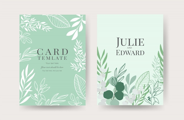 Floral wedding invitation cards template Premium Vector