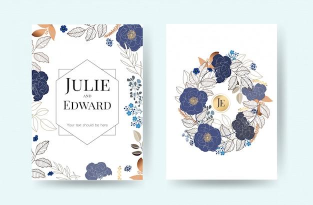 Floral wedding invitation cards vector Premium Vector