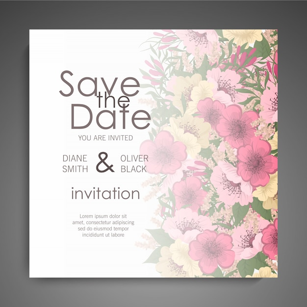 Floral wedding invitation elegant invite card  design Free Vector