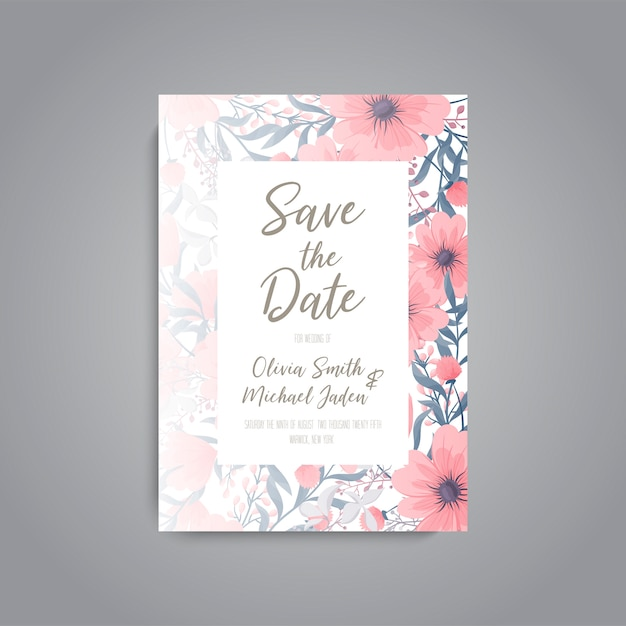 Floral wedding invitation elegant invite card Free Vector