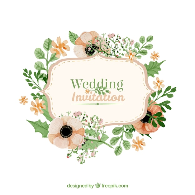 Flowers Vector Design Wedding Invitations Wedding: Floral Wedding Invitation In Retro Style Vector