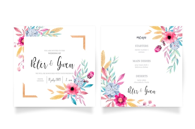 Floral wedding invitation & menu template Free Vector