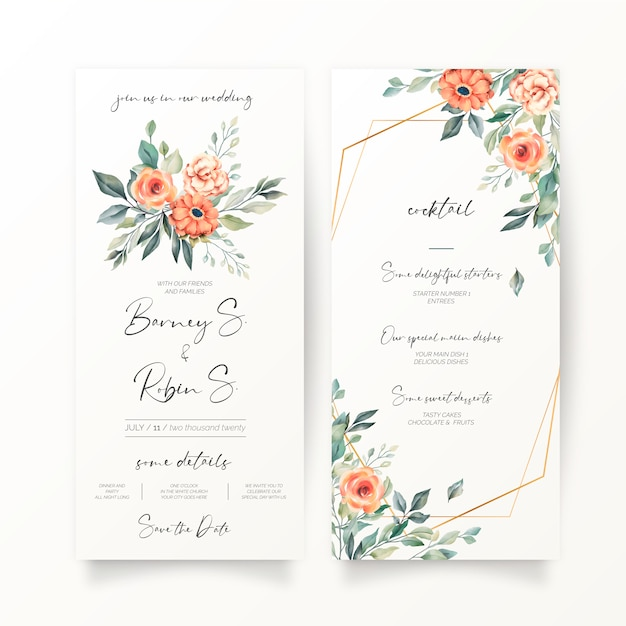 Floral wedding invitation and menu template Free Vector