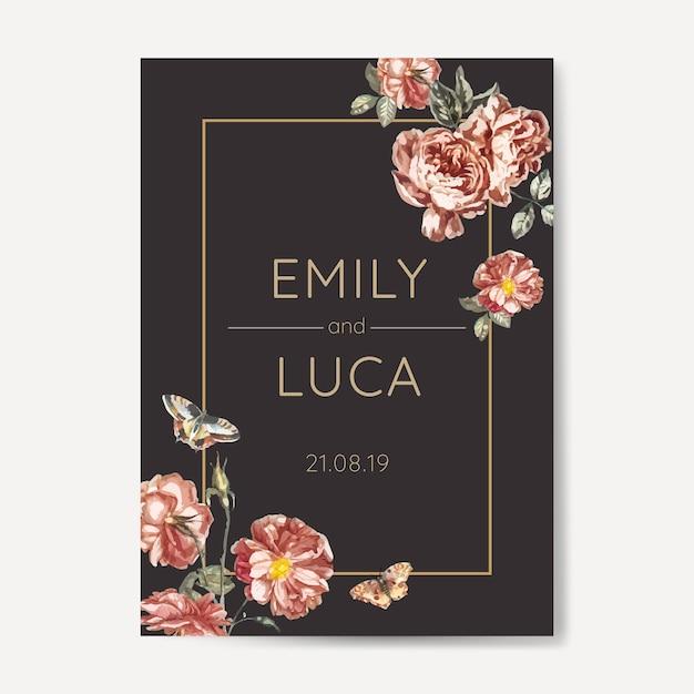 Floral wedding invitation mockup Free Vector