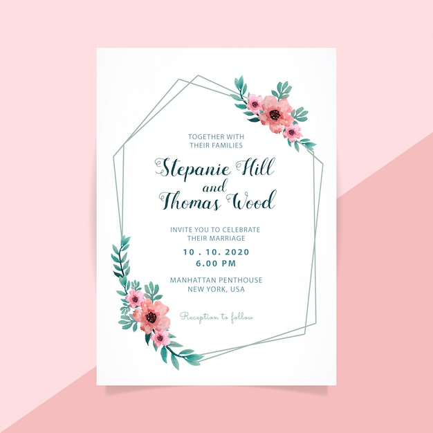 Floral wedding invitation polygon frame Premium Vector