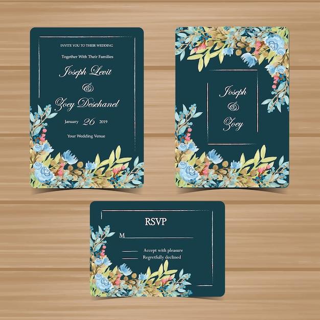 Floral Wedding Invitation Set With Navy Green Background Premium