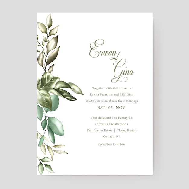 Floral wedding invitation template card design Premium Vector