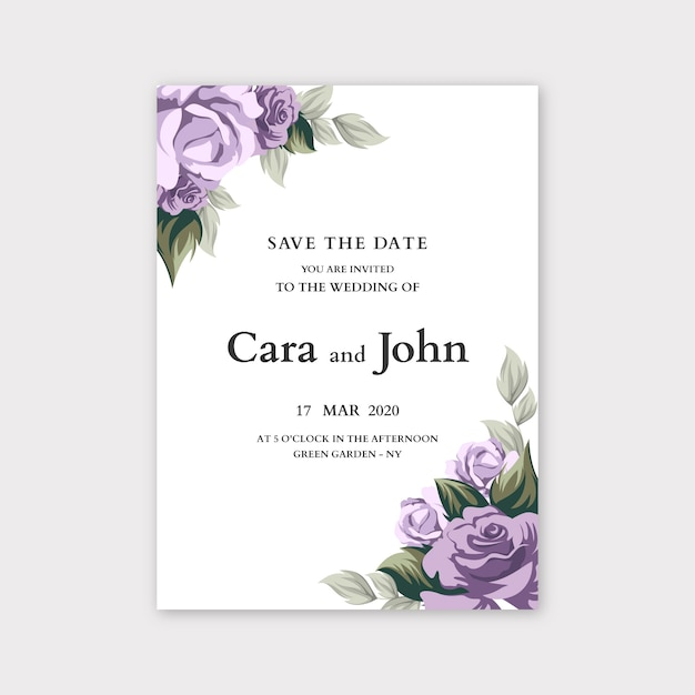 Floral wedding invitation template concept Free Vector