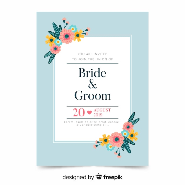 Floral wedding invitation template on flat design Free Vector