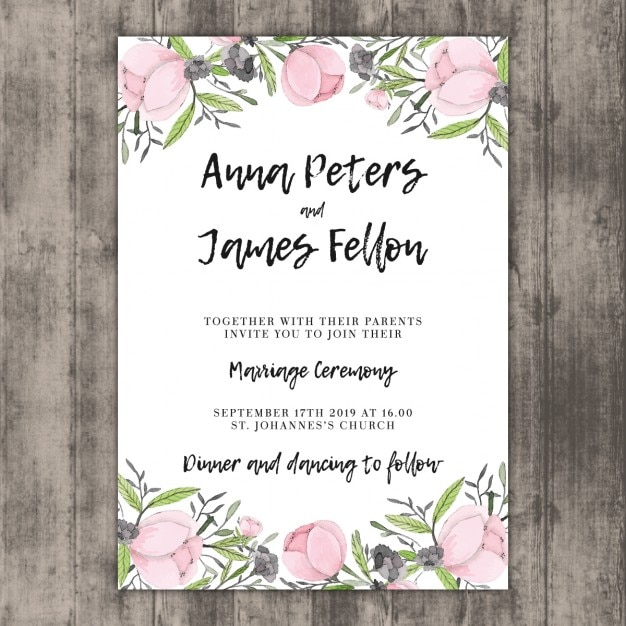 Floral Wedding Invitation Template On Wood Vector