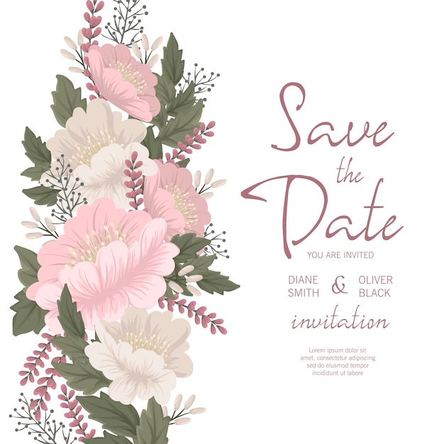 Floral wedding invitation template - pink floral card Free Vector