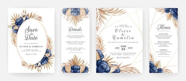 파란 장미 꽃과 갈색 잎 장식 설정 꽃 결혼식 초대장 템플릿. 프리미엄 벡터