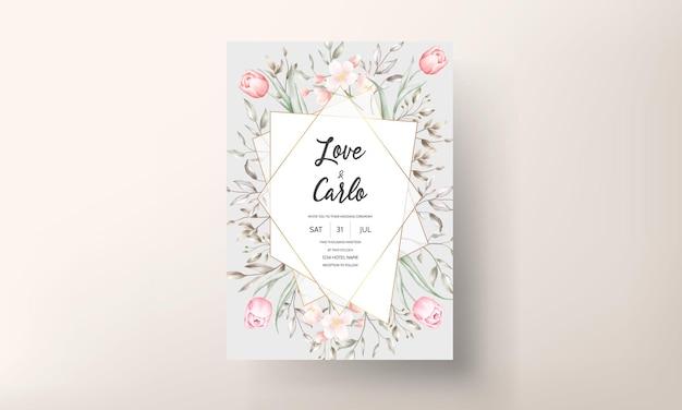 茶色と桃の花と葉の装飾が設定された花の結婚式の招待状 無料ベクター