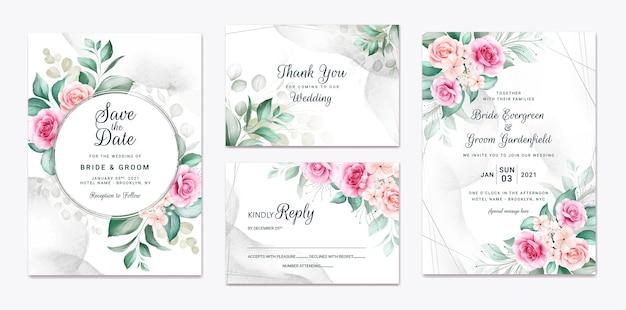 꽃 결혼식 초대장 서식 파일 갈색과 복숭아 장미 꽃과 잎 장식으로 설정합니다. 프리미엄 벡터