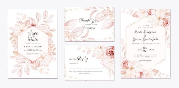 꽃 결혼식 초대장 템플릿 갈색 장미 꽃과 나뭇잎 장식으로 설정합니다. 프리미엄 벡터