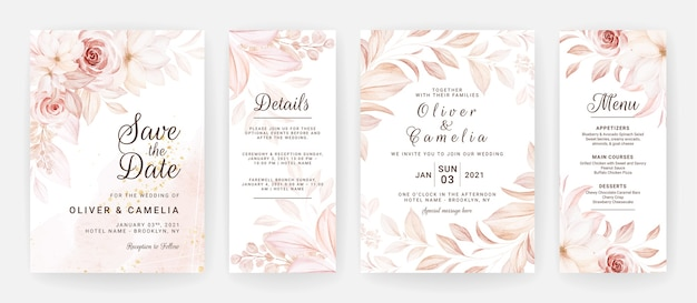 Floral wedding invitation template set with brown roses flowers and leaves decoration. Premium Vector