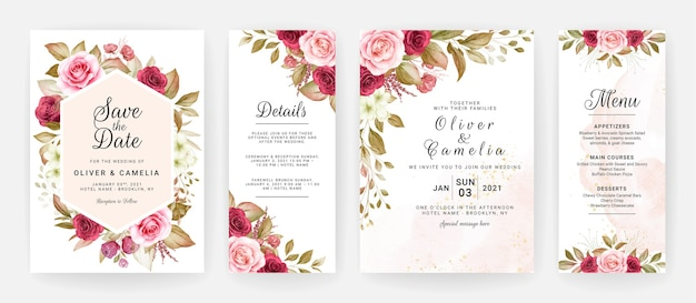 Floral wedding invitation template set with burgundy and peach roses flowers and leaves decoration. Premium Vector