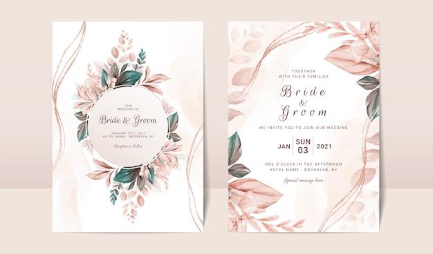 Floral wedding invitation template set with elegant brown leaves decoration Premium Vector
