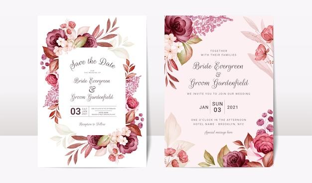 エレガントなバーガンディと茶色のバラの花と葉の装飾が設定された花の結婚式の招待状のテンプレート。ボタニックカードのデザインコンセプト Premiumベクター