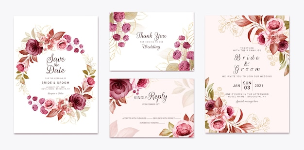 Floral wedding invitation template set with gold burgundy and brown roses flowers and leaves decoration. botanic card design concept Premium Vector