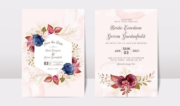 ゴールドバーガンディとセットの花の結婚式の招待状のテンプレート Premiumベクター