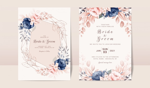 Floral wedding invitation template set with navy and peach watercolor roses and leaves decoration.