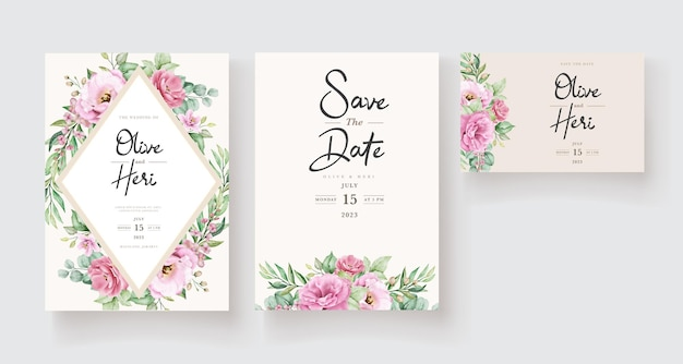 Цветочный шаблон свадебного приглашения с розовыми розами, цветами и листьями Бесплатные векторы