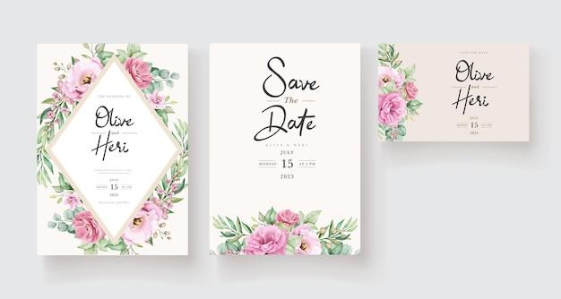 Modello di invito matrimonio floreale con fiori e foglie di rose rosa Vettore gratuito