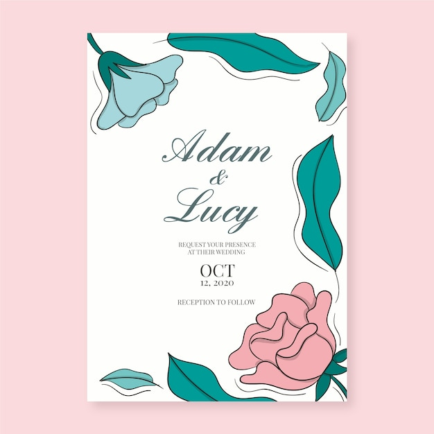 Floral wedding invitation template theme Free Vector