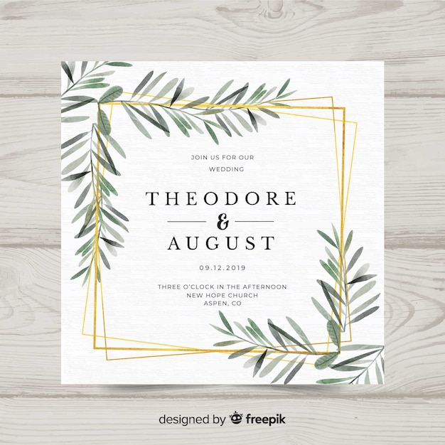 Floral wedding invitation template with elegant golden frame Free Vector