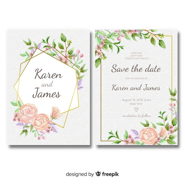 Floral wedding invitation template with golden frame Free Vector