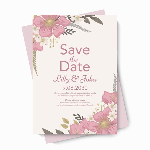 꽃 결혼식 초대장 서식 파일 무료 벡터