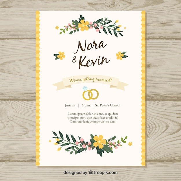 Floral Wedding Invitation Template Vector