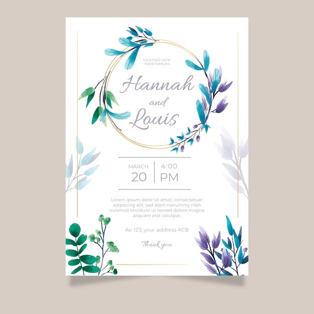 Floral wedding invitation template Premium Vector