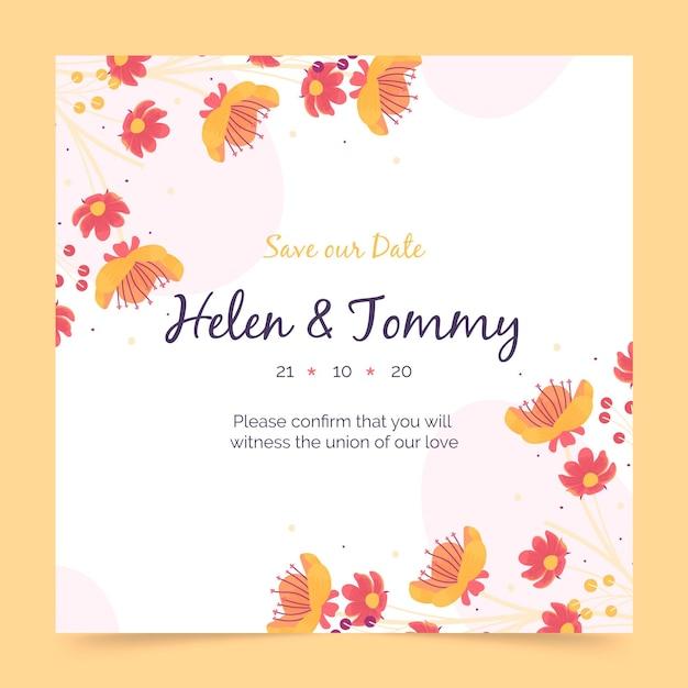 花の結婚式の招待状のテンプレート 無料ベクター