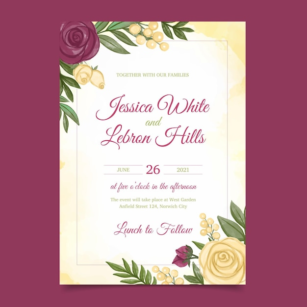 Modello di invito matrimonio floreale Vettore gratuito