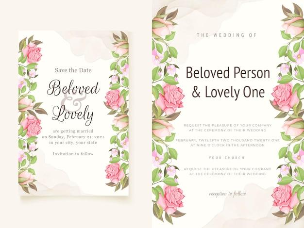 꽃 결혼식 초대장 서식 파일 프리미엄 벡터