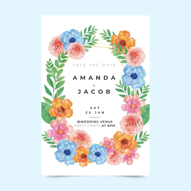 Floral wedding invitation template Free Vector