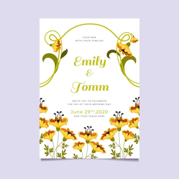 Floral wedding invitation theme Free Vector